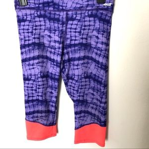 Girls Avia Purple Tye dyed Cropped Leggings